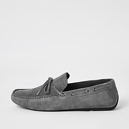 Grey suede tie front driver shoes