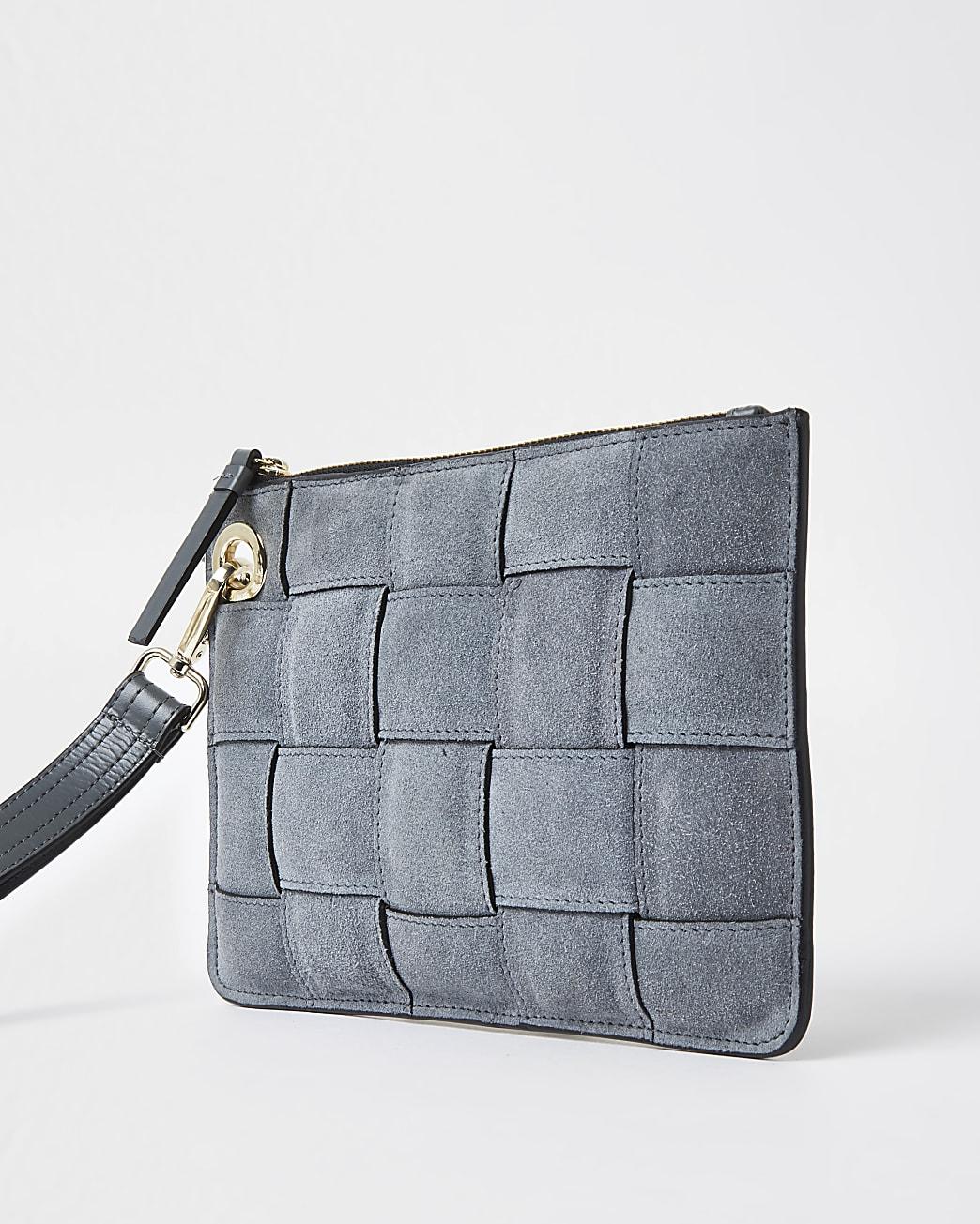Grey suede weave clutch handbag