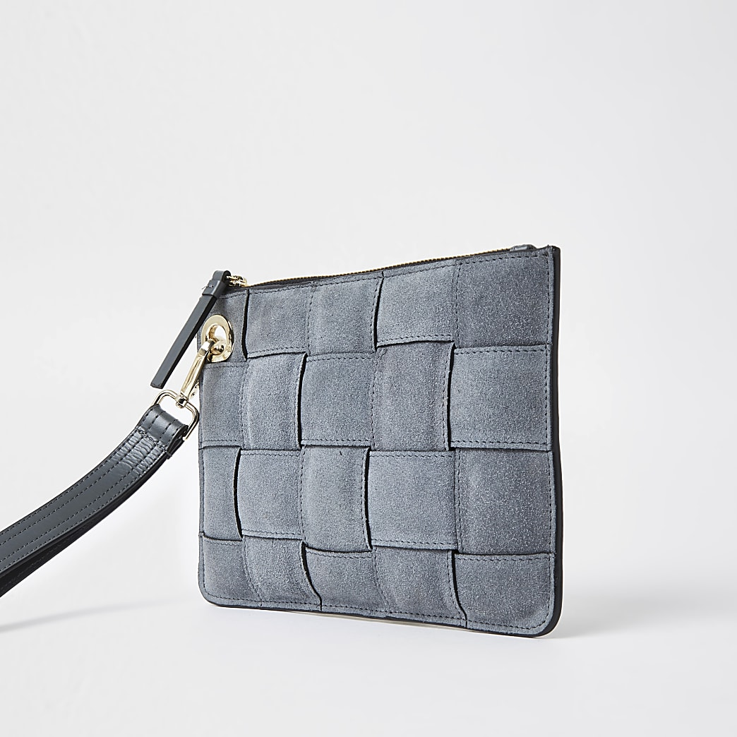 Grey suede weave clutch handbag