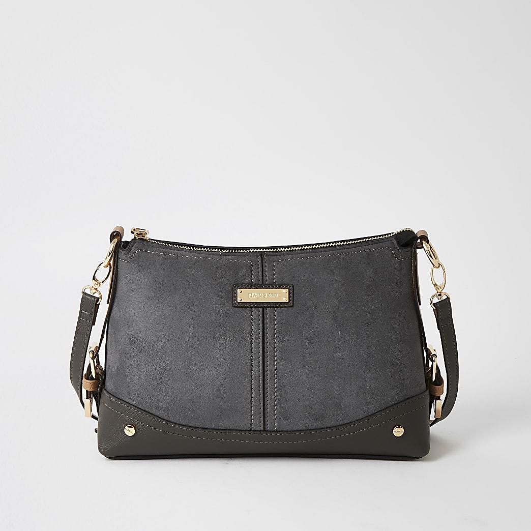 Grey suedette buckle side cross body Handbag