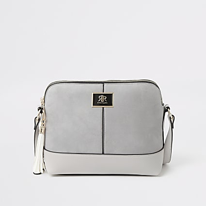 Grey suedette cross body bag