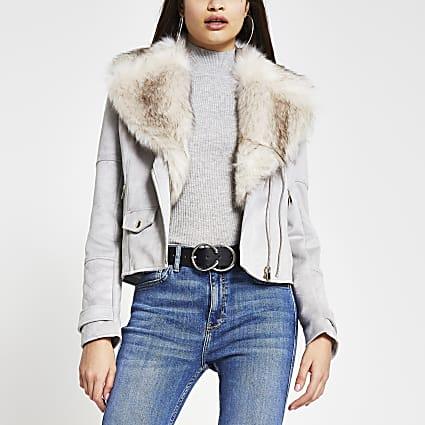Grey suedette faux fur collar biker jacket