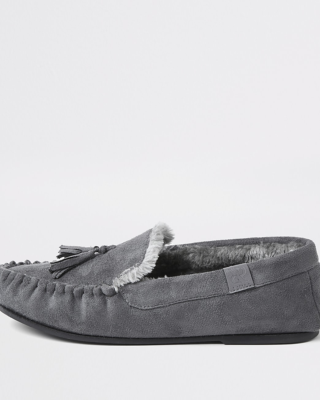 Grey suedette faux fur slippers