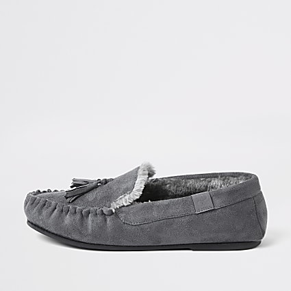 Grey suedette faux fur slippers