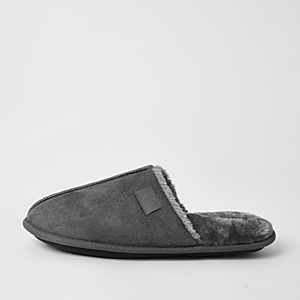 Grey suedette mule slippers