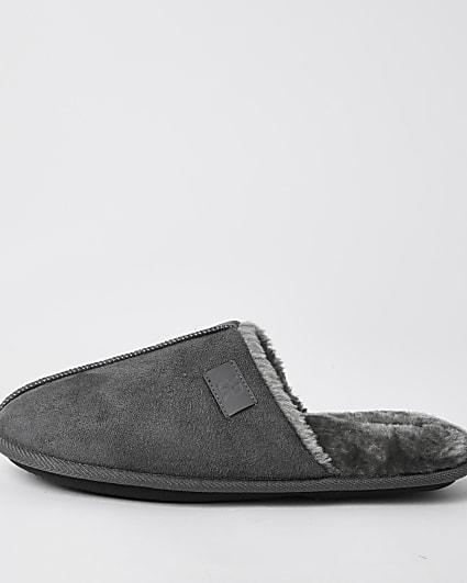 Grey suedette mule slippers