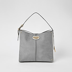 Grey suedette padlock side slouch bag