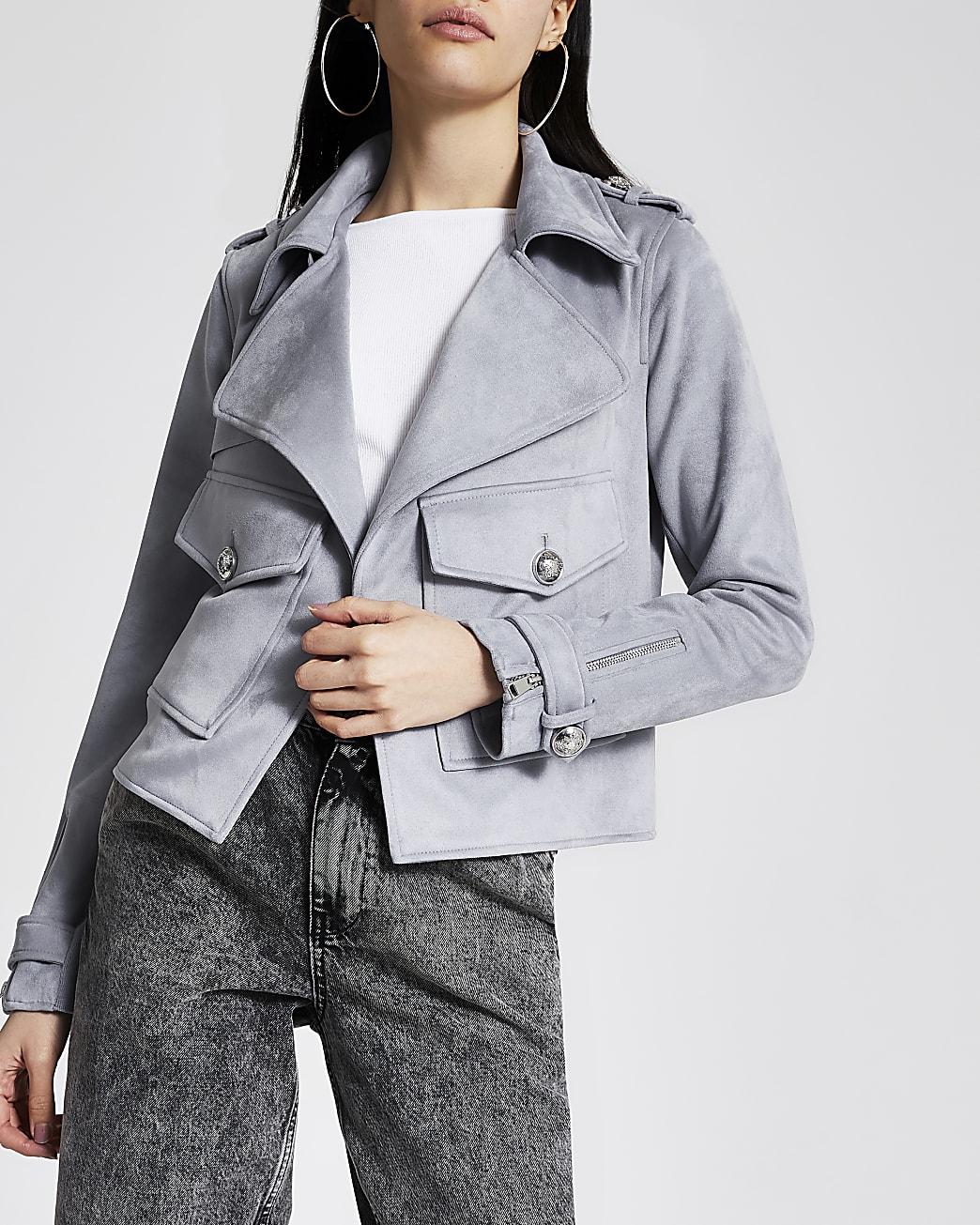 Grey suedette pocket front cropped jacket
