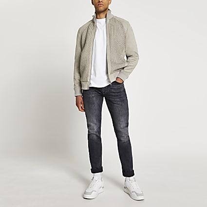 Grey suedette weave jacket