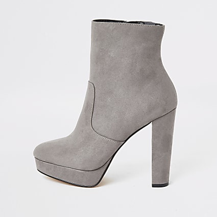 Grey suedette wide fit platform ankle boots