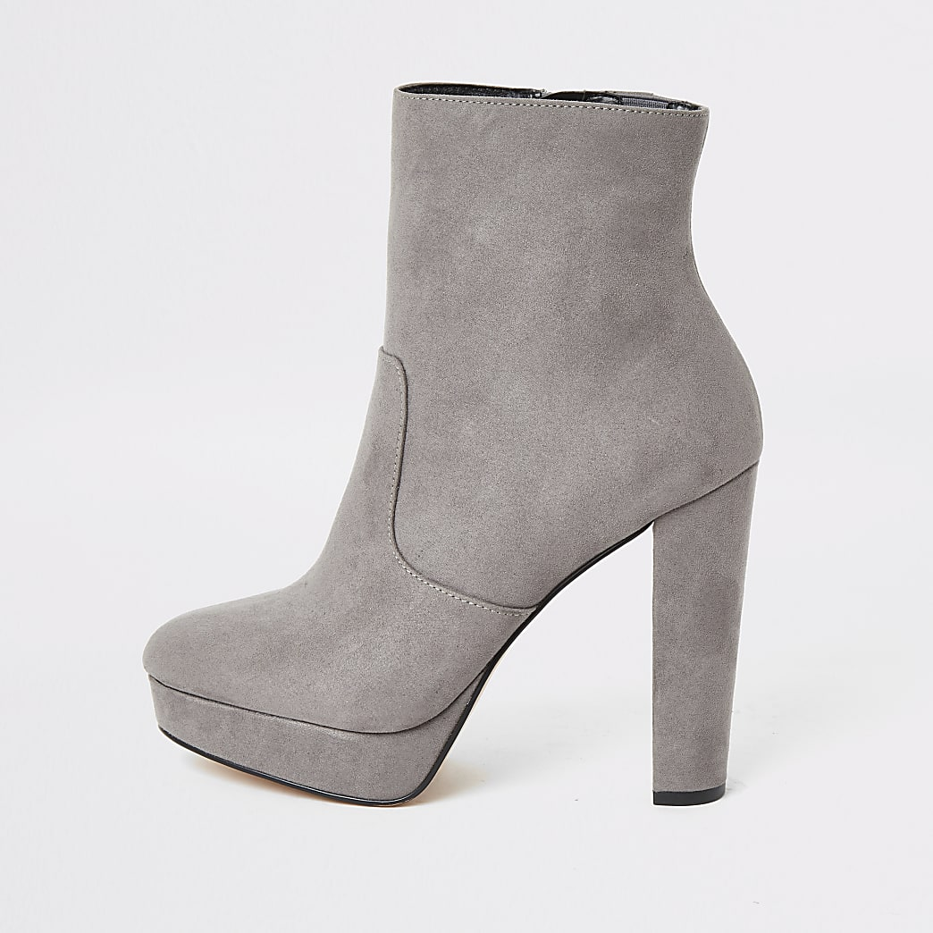 Grey suedette wide fit platform ankle boots