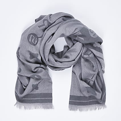 Grey super soft RI logo scarf