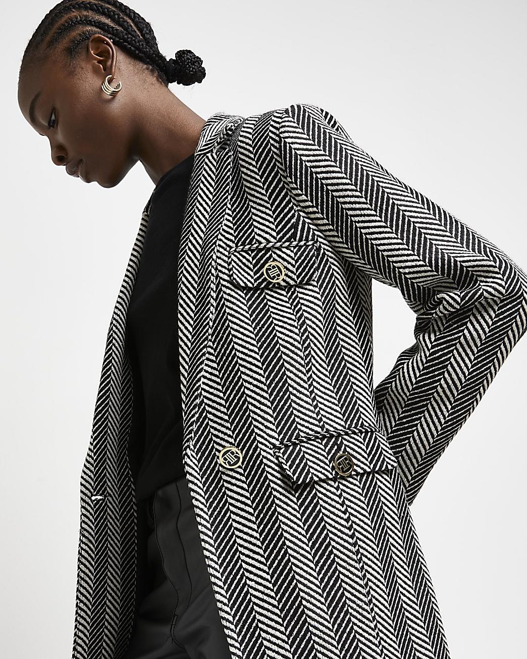 Grey tailored boucle blazer