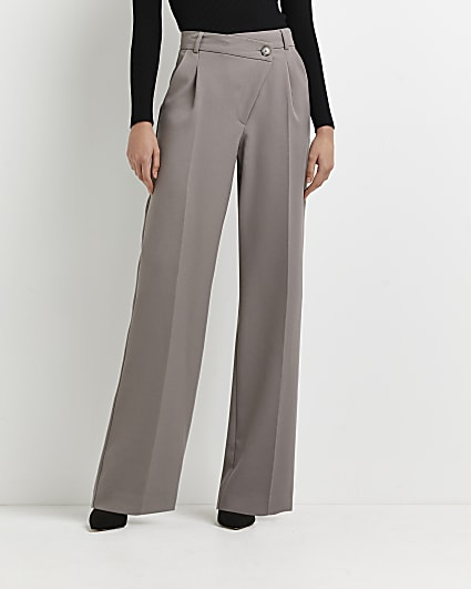 Grey tailored wide leg trousers
