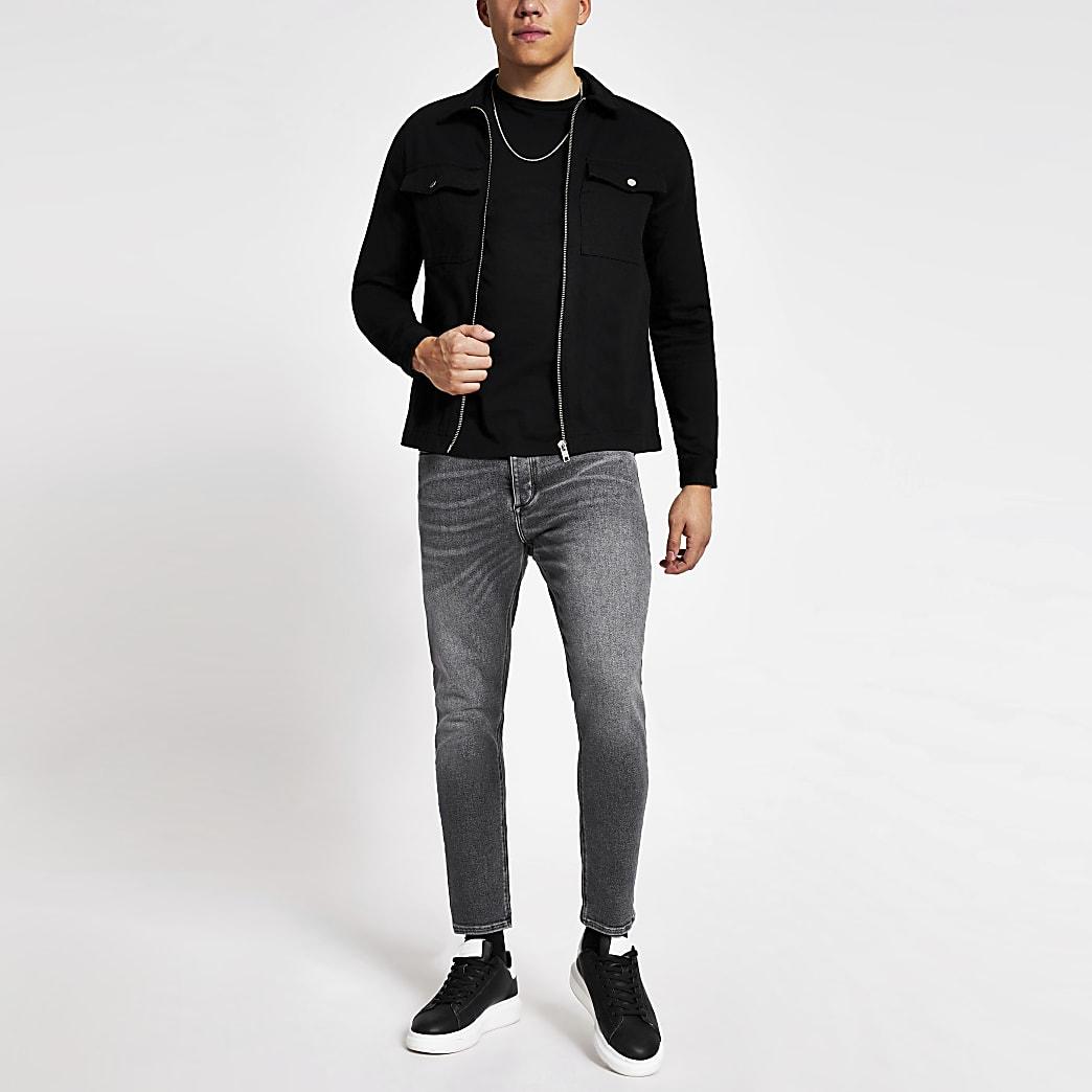 Grey tapered leg denim jeans