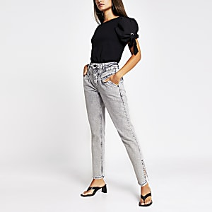 Grey tapered split hem jean