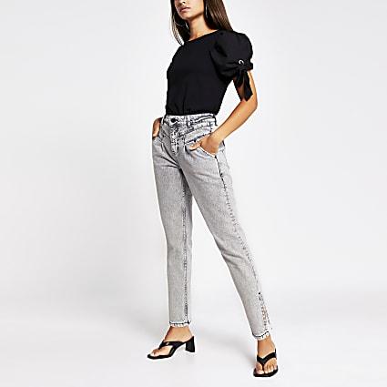 Grey tapered split hem jean