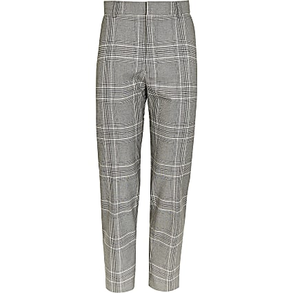 Grey tartan checked tapered fit trousers