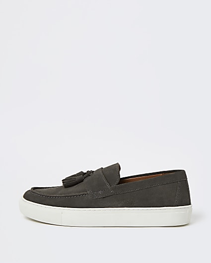 Grey tassel cupsole suede loafers