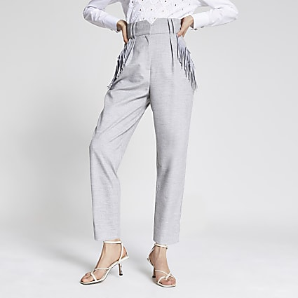 Grey tassel pocket high rise trousers