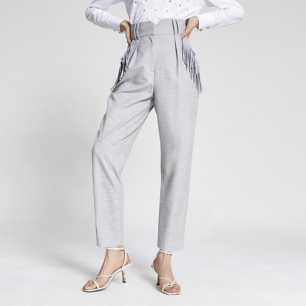 Grey tassel pocket high rise trousers