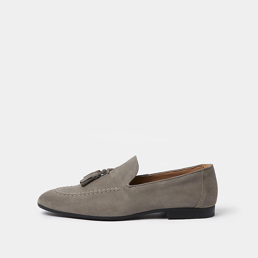 Grey tassel suede loafers
