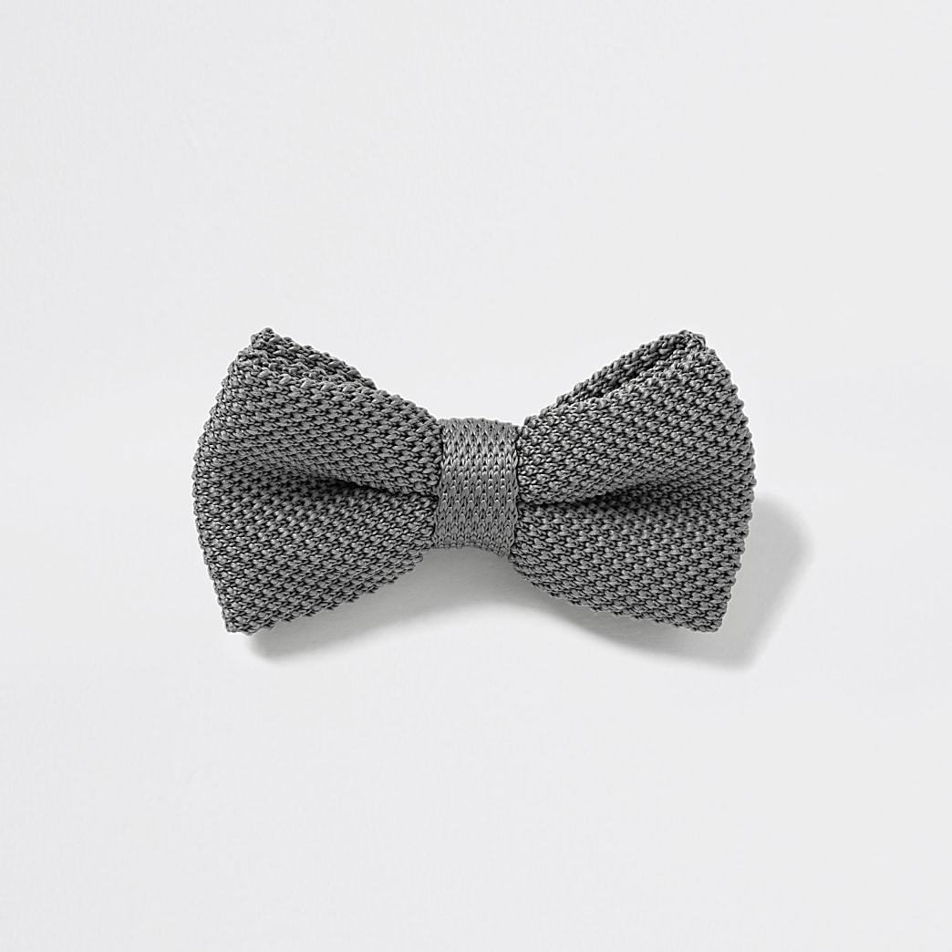 Grey textured bow tie