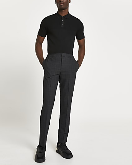 Grey textured check print trousers