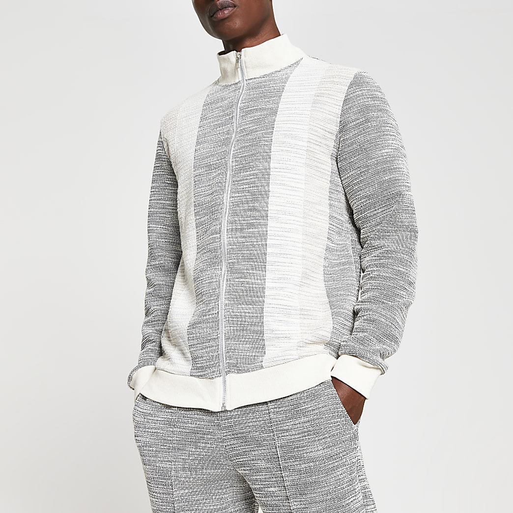 Grey textured colour block track jacket
