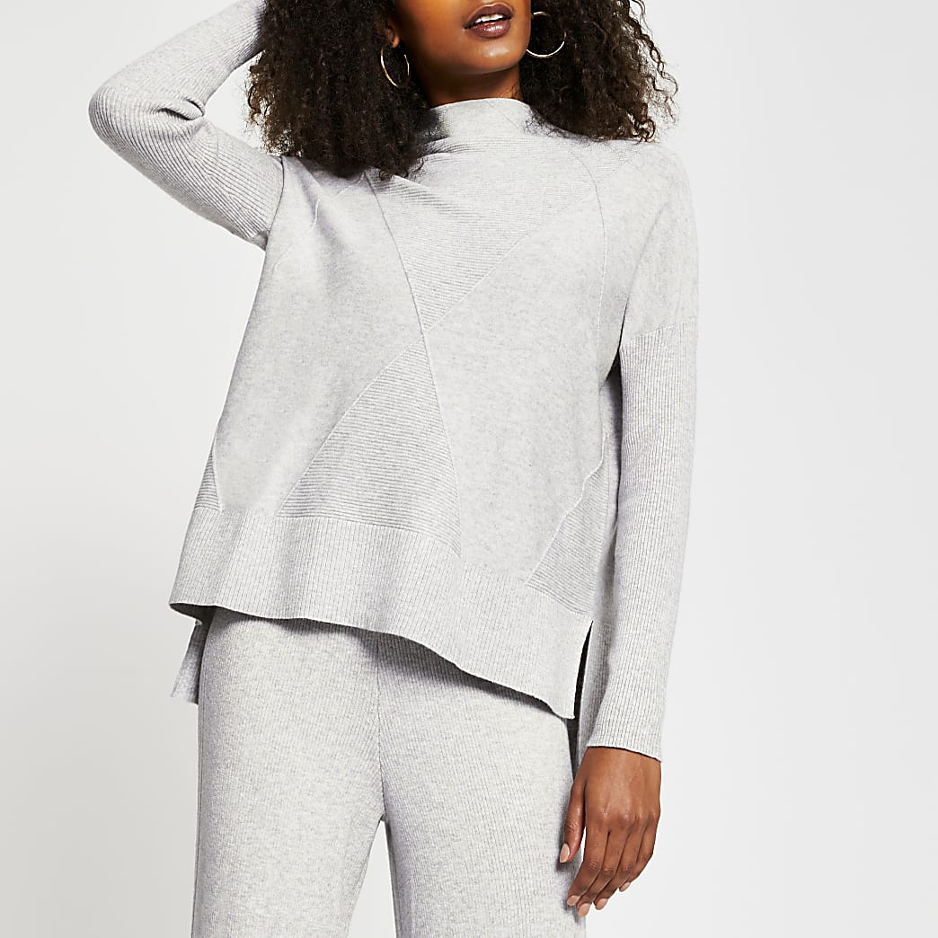 Grey textured high neck knitted jumper