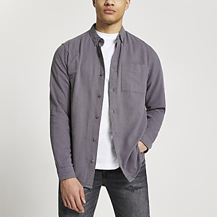 Grey textured long sleeve shirt