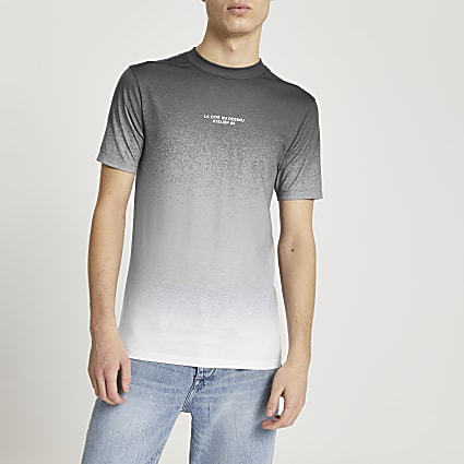 Grey textured ombre print muscle fit t-shirt