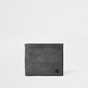RI – Portefeuille texturé à rabat gris