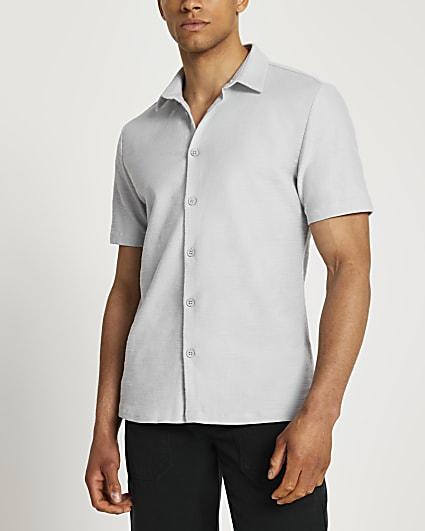 Grey textured short sleeve shirt