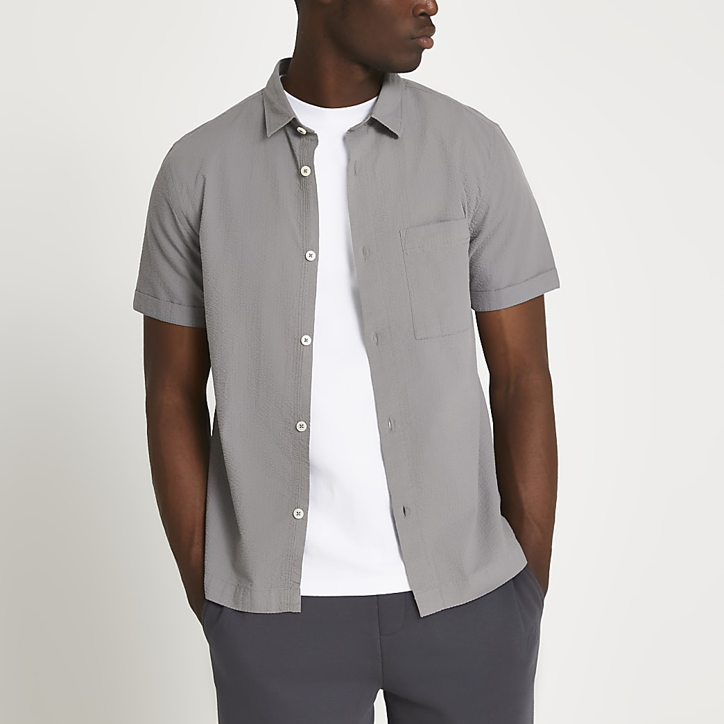 Grey textured short sleeve shirt