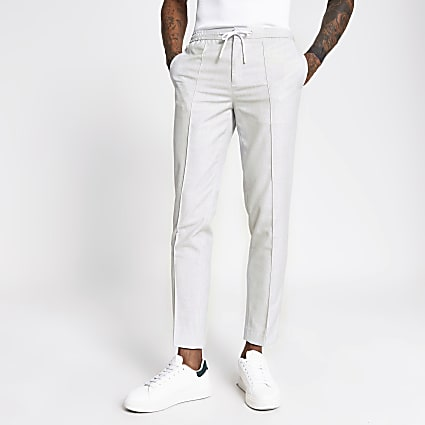 Grey textured skinny smart joggers