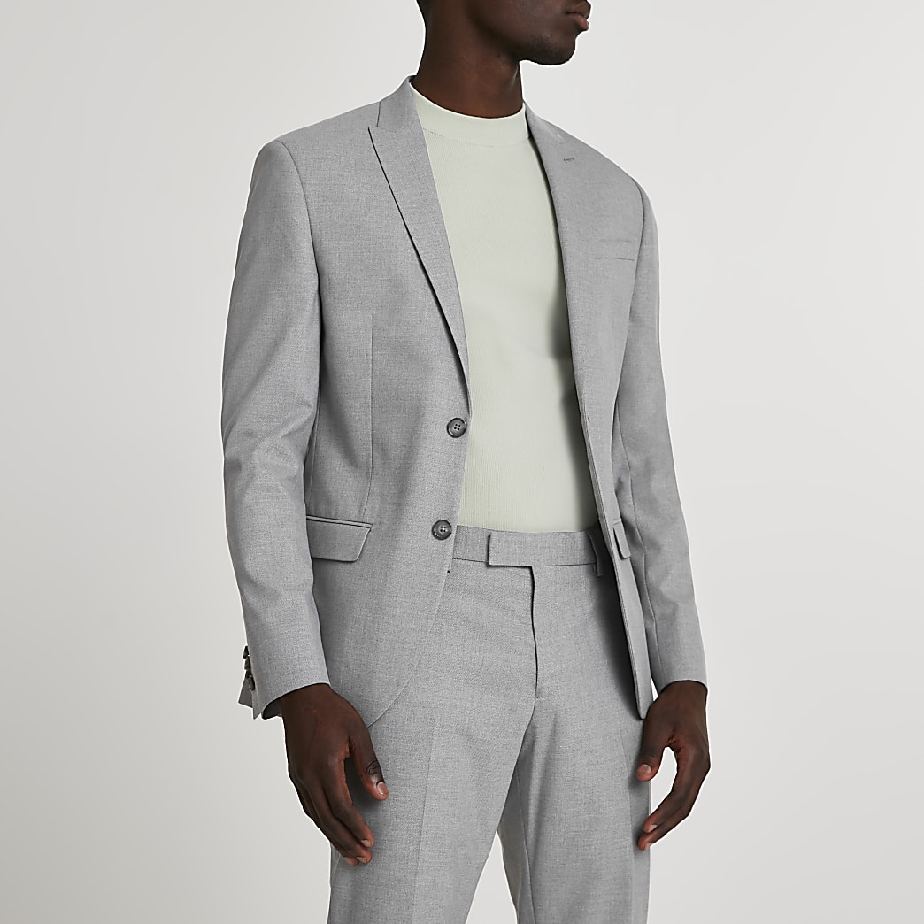 Grey textured skinny suit jacket