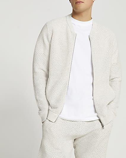 Grey textured slim fit bomber jacket