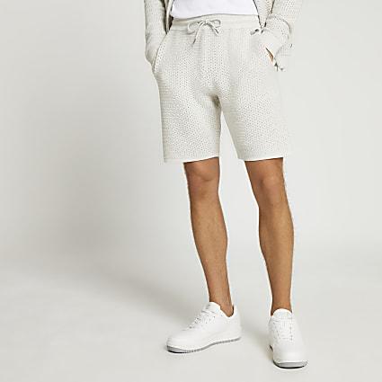 Grey textured slim fit jersey shorts