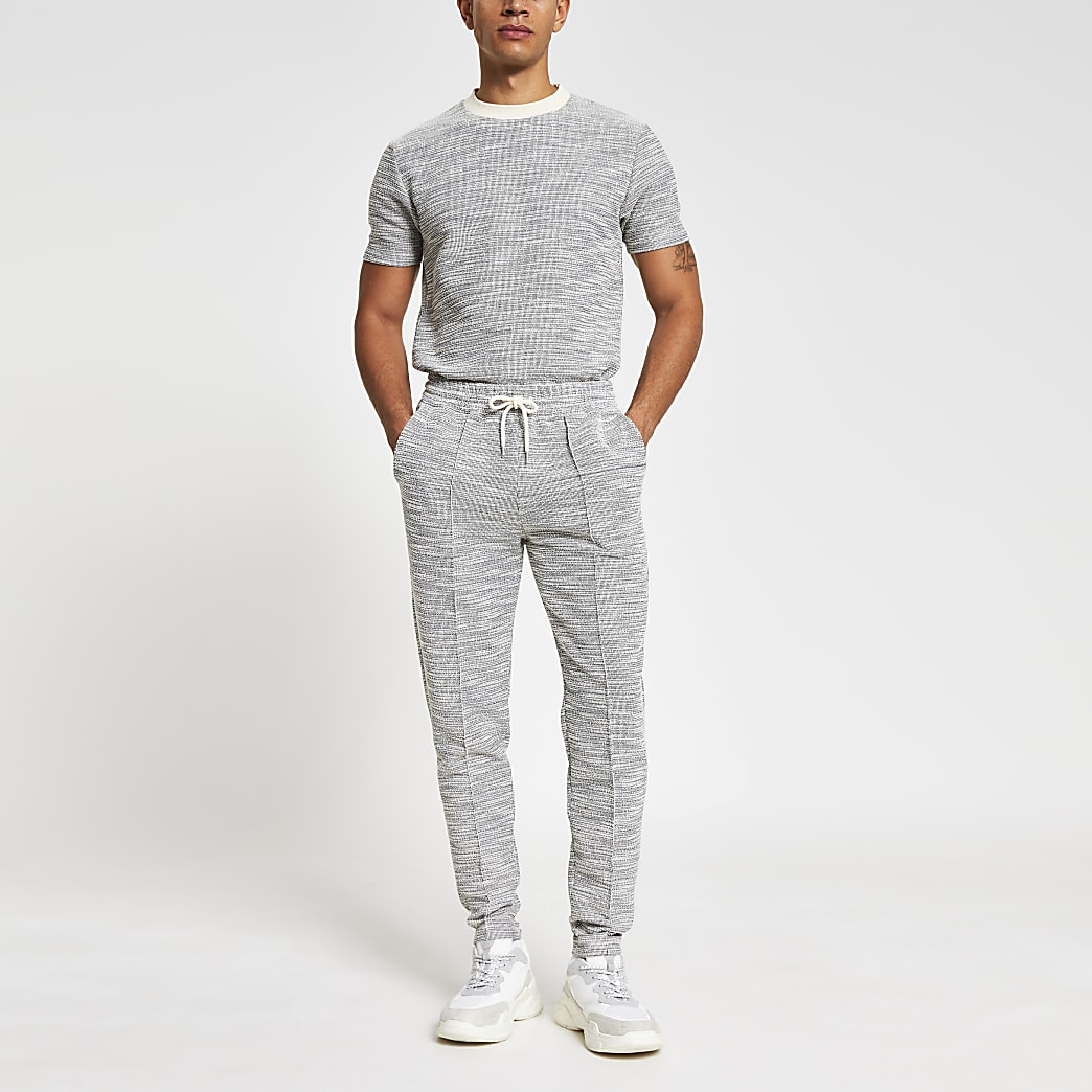 Grey textured slim fit joggers