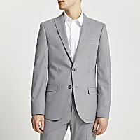 Grey textured slim fit suit jacket