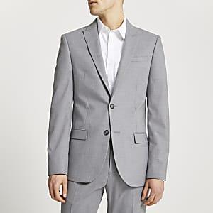 Veste de costume slim grise texturée