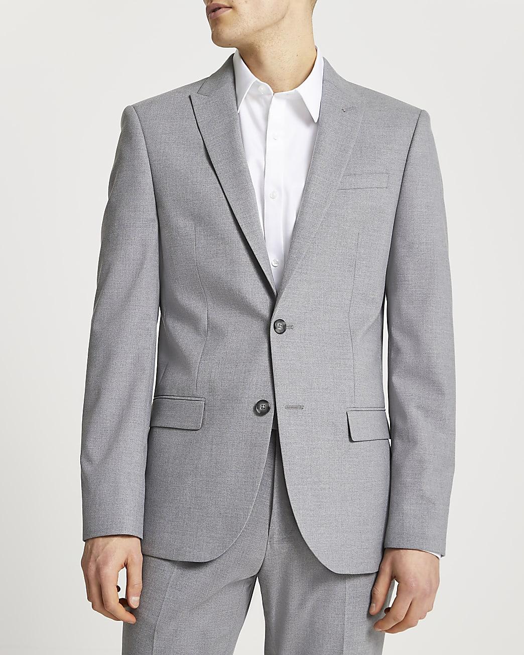 Grey textured slim fit suit jacket