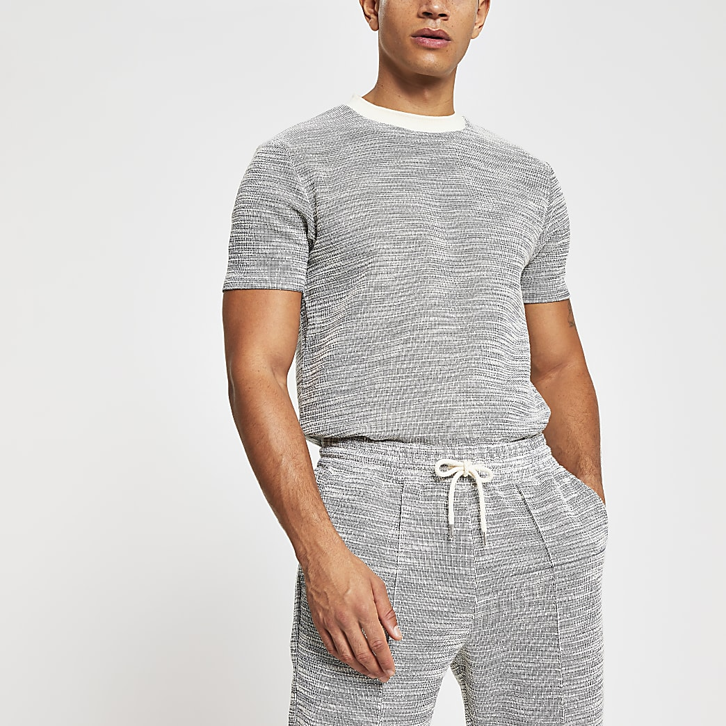 Grey textured slim fit T-shirt