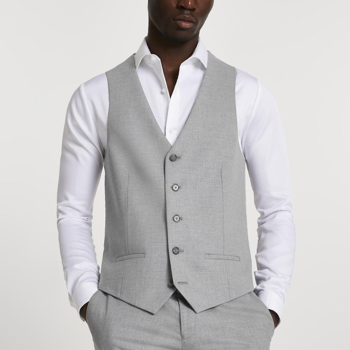 Grey textured suit waistcoat