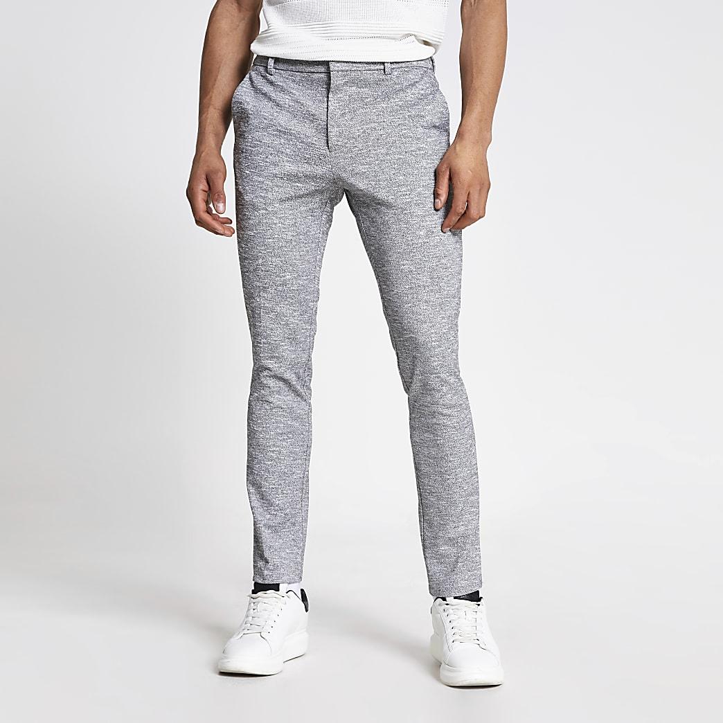 Grijze superskinny-fit nette broek met textuur