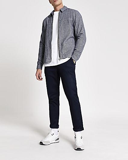 Grey textured zip long sleeve shacket
