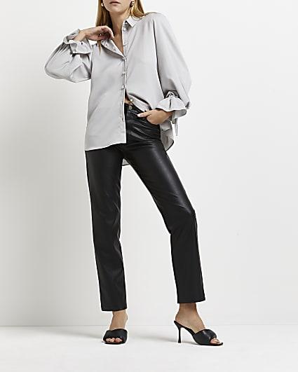 Grey tie cuff oversized shirt