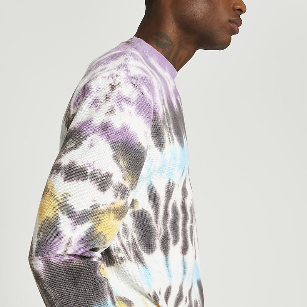 Grey tie dye long sleeve t-shirt