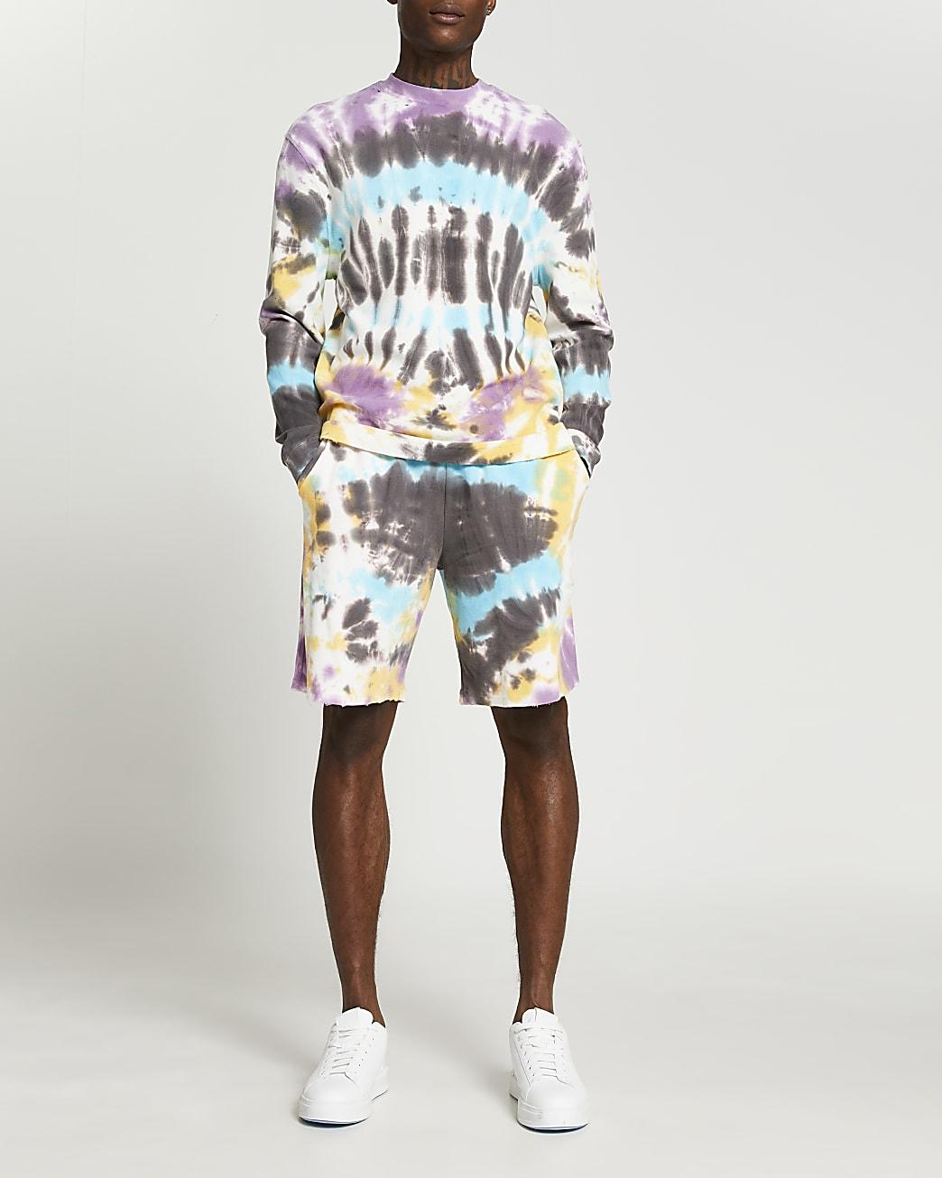 Grey tie dye raw hem elasticated waist shorts